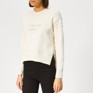 Emporio Armani Women's Logo Knitted Jumper - Cream