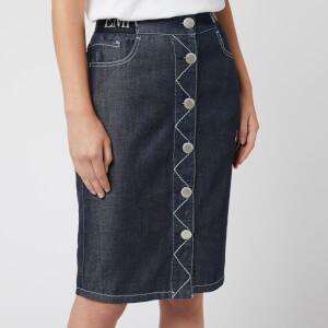 Emporio Armani Women's Denim Logo Skirt - Blue