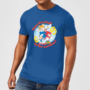 T-Shirt Homme Now It's Time To Be Serious Sonic The Hedgehog - Bleu Roi
