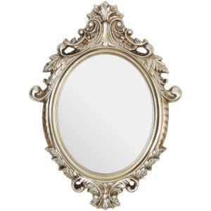 Premier Housewares Garlanded Oval Ornate Wall Mirror - Champagne
