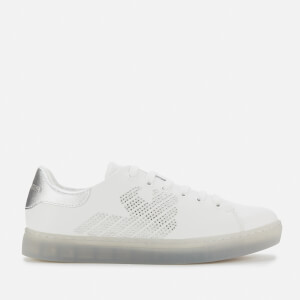 Emporio Armani Women's Marie Leather Cupsole Trainers - White/Silver