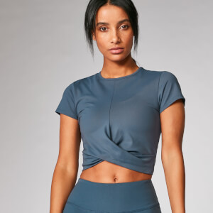 Power Kurzarm Crop Top - Dunkles Indigo