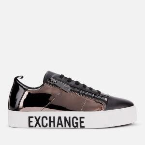 Armani Exchange Women's Mirror Patent Flatform Trainers - Black/Gun Metal/Black
