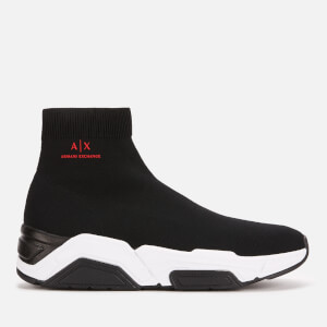Armani Exchange Men's Knitted Hi-Top Trainers - Black