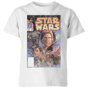 Star Wars Classic Classic Comic Book Cover Kinder T-Shirt - Weiß
