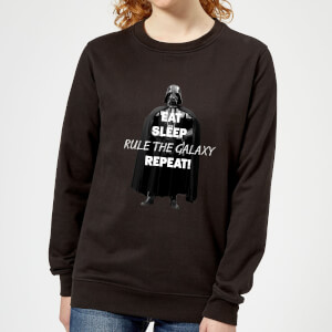 Star Wars Classic Eat Sleep Rule The Galaxy Repeat Damen Pullover - Schwarz