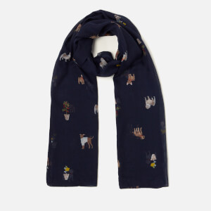 Joules Women's Wensley Scarf - Navy Dogs