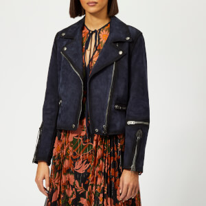 Coach 1941 Women's Burnished Suede Moto Jacket - Navy