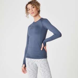 Shape Seamless Langærmet Top – Dark Indigo