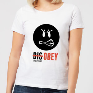 Smiley World Slogan Disobey Women's T-Shirt - White