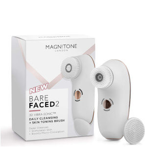 Magnitone London BareFaced 2 Daily Cleansing and Skin Toning Brush -puhdistusharja, valkoinen