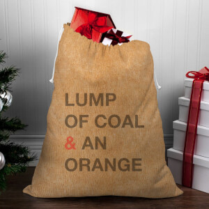 Lump Of Coal & An Orange Christmas Sack