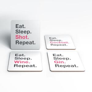Eat Sleep Shot Repeat Coasters (Pack of 4)