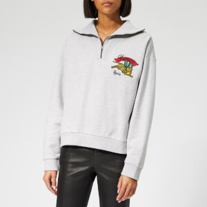 KENZO Women's Stand Collar Zipped Sweatshirt - Pale Grey