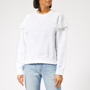 KENZO Women's Tiger Comfort Sweat Ruffles - White