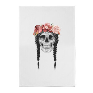 Balazs Solti Skull and Flowers Cotton Tea Towel