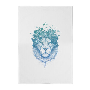 Balazs Solti Lion and Butterflies Cotton Tea Towel