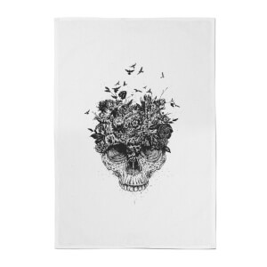 Balazs Solti Skulls and Flowers Cotton Tea Towel