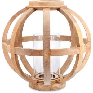 Nkuku Kabu Wooden Lantern - Mango Wood - Large