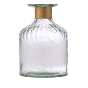 Nkuku Chara Hammered Bottle - Clear Glass & Antique Brass - 15cm