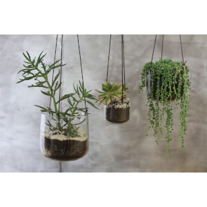 Nkuku Viri Hanging Planter - Clear Hammered Glass - Large
