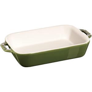 Staub Ceramic Rectangular Gratin Dish - 20cm x 16cm Basil