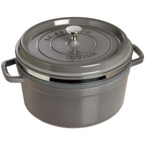Staub Round Cocotte and Steamer - Graphite Grey - 26cm