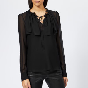 See By Chloé Women's Textured Frill Top - Black