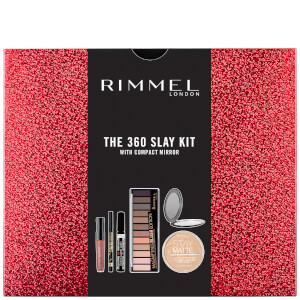 Rimmel 360 Slay Kit Gift Set - Stay Matte Powder, Stay Matte LL, Mascara, Palette, Eyeliner (Worth £25)