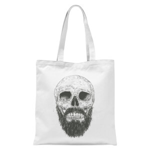 Balazs Solti Bearded Skull Tote Bag - White