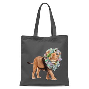 Jonas Loose Floral Lion Tote Bag - Grey