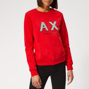 Armani Exchange Women's Beaded Logo Sweatshirt - Red