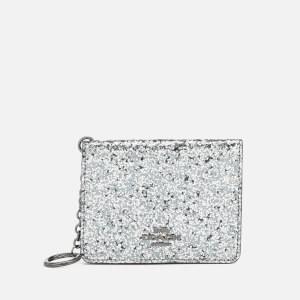 Coach Women's Glitter Key Ring Card Case - Metallic Graphite