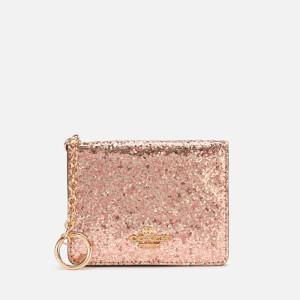 Coach Women's Glitter Key Ring Card Case - Metallic Rosegold
