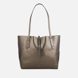 Coach Women's Metallic Leather Market Tote Bag - Metallic Graphite