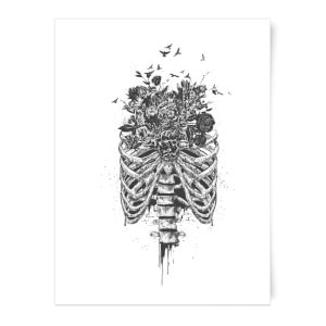Ribcage and Flowers Art Print