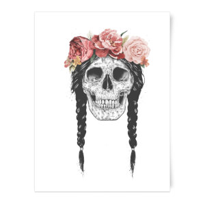 Balazs Solti Skull and Flowers Art Print