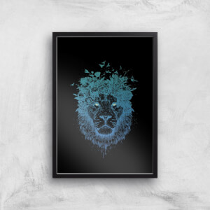 Balazs Solti Lion and Butterflies Art Print