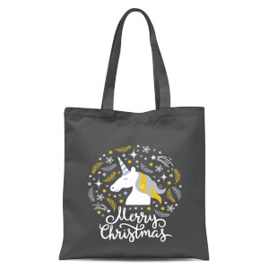 Unicorn Christmas Tote Bag - Grey