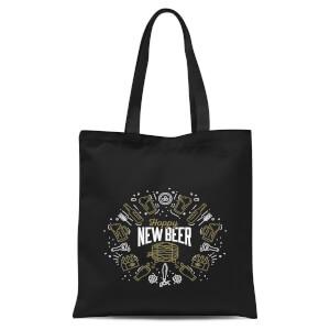 Hoppy New Beer Tote Bag - Black