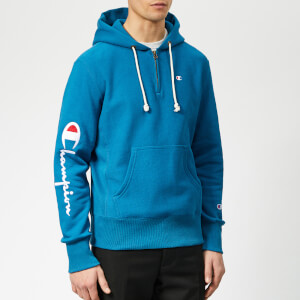 Champion Men's Half Zip Over Head Hoodie - Blue