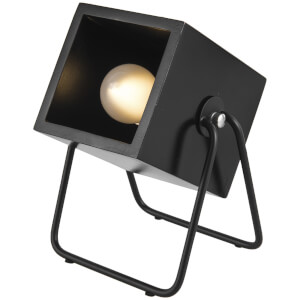 Leitmotiv Hefty Rubber Square Wood Table Lamp - Black