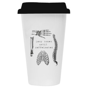 Lazy Bones Until Caffeinated Ceramic Travel Mug