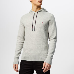 Tommy Hilfiger Men's Cotton Mesh Structured Hoody - Cloud Heather
