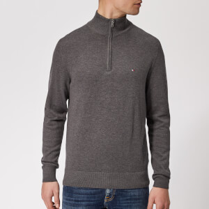 Tommy Hilfiger Men's Cotton Silk Zip Sweater - Magnet Heather