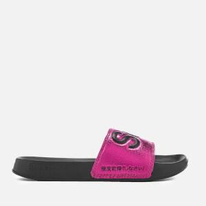 Superdry Women's Pool Slide Sandals - Black/Hot Pink Crackle: Image 2