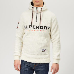 Superdry Men's Mountain Sherpa Half Zip Overhead Hoodie - Ecru