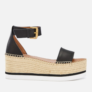 See By Chloé Women's Glyn Leather Espadrille Mid Wedge Sandals - Black