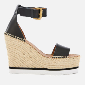 See By Chloé Women's Leather Espadrille Wedge Sandals - Black