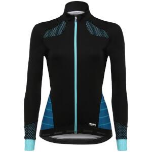 Santini Women's Coral Winter Windstopper Jacket - Black/Aqua Blue